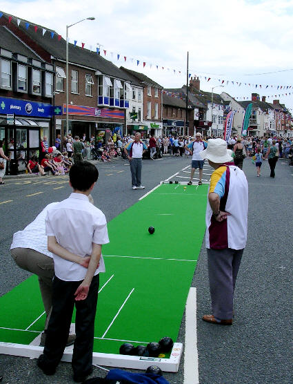 bowling mat in the street