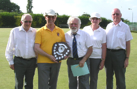 George Chambers, Peter Preston, Ruth Lowe and Rod Payne with SBCA Competition Secretary Dennis Collins (centre)